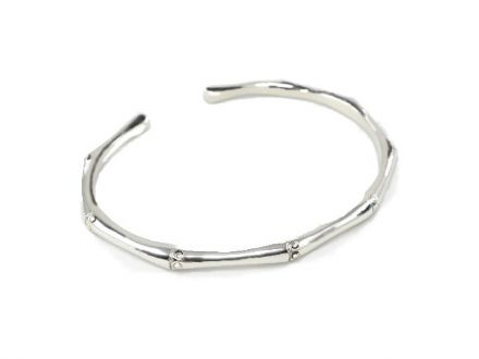 Ladies Bamboo Sterling Silver Torque Bangle